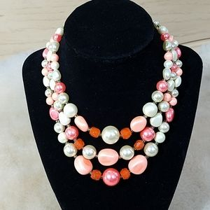 Vintage 3-Strand Necklace w/Matching Clip-Ons